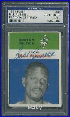 Bill Russell Signed 1961 Fleer Card #38 Psa/dna Certified Autograph Original Hof