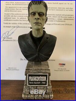 Boris Karloff Autographed Signed Cut Psadna & Frankenstein Sideshow Bust