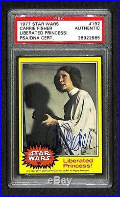 CARRIE FISHER Princess Leia 1977 TOPPS SIGNED AUTOGRAPHED CARD RC PSA/DNA RARE