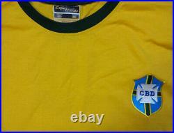 Cbd Brazil Pele Autographed Yellow Copa Mundo Short Sleeve Jersey Psa/dna 100330
