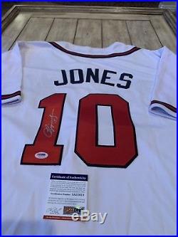 Chipper Jones Autographed/Signed Jersey PSA/DNA COA Atlanta Braves HOF