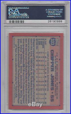 Chipper Jones Psa 9 Mint Signed 1991 Topps Desert Shield Card #333 Psa/dna Rare