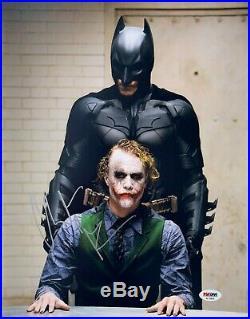 Christian Bale Signed Autographed Batman Joker 11x14 Photo Heath Ledger Psa/dna