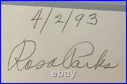 Civil Rights Icon Rosa Parks Signed Autograph Cut Signature PSA DNA FREE S&H
