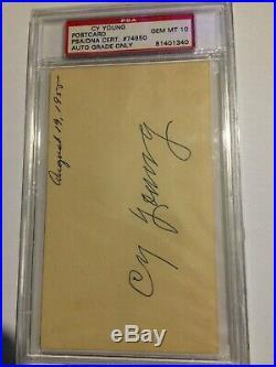 Cy Young Autographed Post Card Gem Mint 10 PSA/DNA Cert