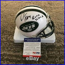 Darrelle Revis Signed New York Jets Autographed Mini Helmet PSADNA Revis Island