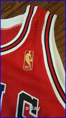 Dennis Rodman Chicago Bulls Champion Pro Cut Jersey Red Sz 46 Autograph Psa/dna