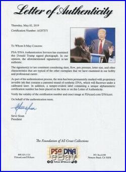 Donald Trump Autographed 11x14 PSA DNA Full LOA Huge Signature 45th US President