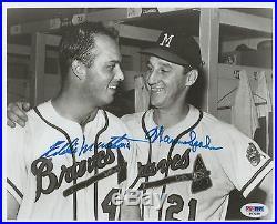 Eddie Mathews & Warren Spahn Psa/dna Dual Signed Autographed 8x10 Photograph