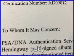 Ernest Hemingway Handwritten Signed Autographed Auto document WWII PSA / DNA