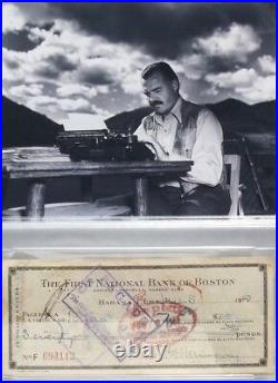 Ernest Hemingway Signed Personal Check Nobel Recipient Psa/dna Rare
