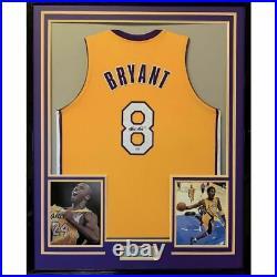 FRAMED Autographed/Signed KOBE BRYANT 33x42 Los Angeles LA Yellow Jersey PSA COA