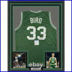 FRAMED Autographed/Signed LARRY BIRD 33x42 Boston Green Jersey PSA/DNA COA Auto