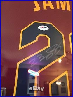 Framed Lebron James Autographed Cleveland Cavaliers Jersey. COA PSA/DNA