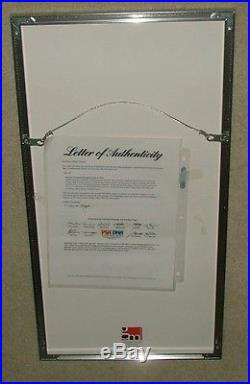 Framed Roberto Clemente Signed Jsa Certified Authentic Autograph Print Psa/dna