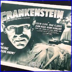 Frankenstein R1947 Original Movie Poster HSH with Boris Karloff Autograph PSA/DNA