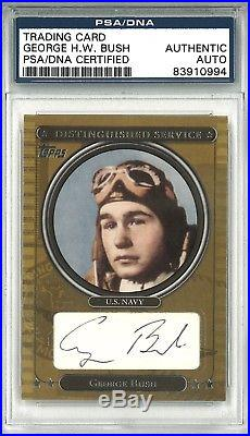 George Hw Bush Signed 2007 Topps Distinguished Service Card Psa Dna Rare Potus