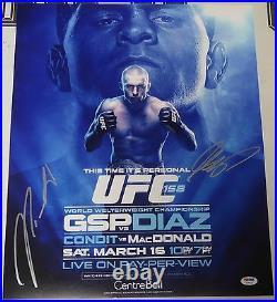 Georges St-Pierre & Nick Diaz Signed UFC 158 16x20 Photo PSA/DNA COA Poster Auto