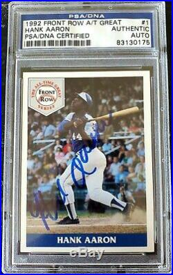 HANK AARON Autographed 1992 Front Row All Time Great PSA/DNA Authentic Auto $400