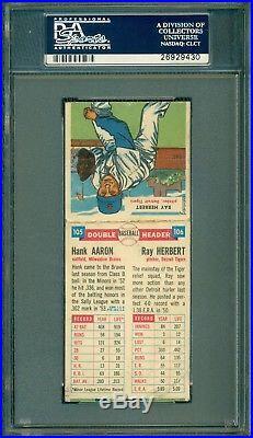 Hank Aaron 1955 Topps Double-Header Autograph PSA/DNA Authentic GEM 10 Sig