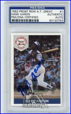 Hank Aaron 1992 Front Row All Time Great Autographed Auto Card #1 PSA/DNA