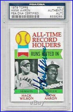 Hank Aaron Autographed 1979 Topps Card (PSA/DNA)