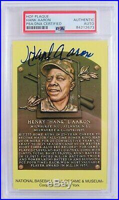 Hank Aaron Signed Auto Autograph Scenic Art HOF Plaque Postcard PSA/DNA