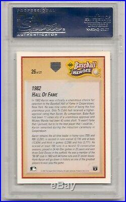 Hank Aaron Signed Autographed 1991 Upper Deck Heroes Psa Dna Coa Mint Auto Jsa