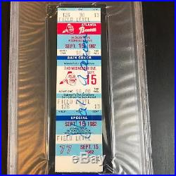 Hank Aaron Signed Autographed Original 1982 Atlanta Braves Ticket PSA DNA COA