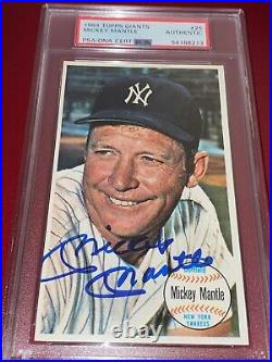 INVEST GEM SIGNED 1964 Topps Giants HOF MICKEY MANTLE Autographed AUTO PSA DNA