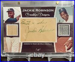 Jackie Robinson Cut Autograph Relic PSA DNA Jersey Bat
