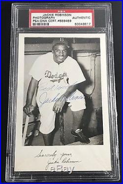Jackie Robinson Signed Autographed In 50's Vintage Auto Dodgers Postcard Psa/dna