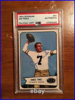 Jim Finks Signed Auto 1954 Bowman HOF Football Card Autograph PSA DNA