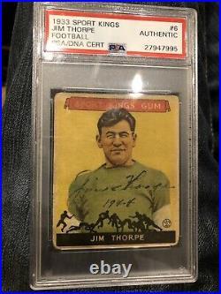 Jim Thorpe Autographed 1933 Sport Kings No. 6 Signed PSA/DNA