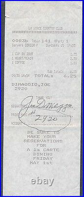 Joe DiMaggio Signed Receipt Autograph Auto PSA/DNA AC01110