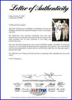 Joe Dimaggio Bob Feller 8X10 Photo PSA/DNA COA LOA Auto Signed Autographed