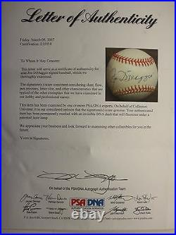 Joe Dimaggio Psa/dna Certified Signed Rawlings Official Al Baseball Autographed
