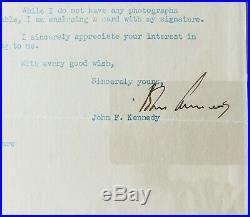 John F. Kennedy Signed Autograph Tls Psa/dna Authentic