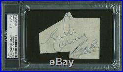 John Lennon & Ringo Starr Authentic Signed 2.75X3.5 Cut PSA/DNA Slabbed