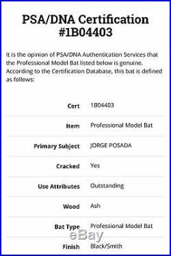Jorge Posada Game Used Worn Bat Autograph New York Yankees PSA/DNA Signed