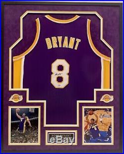KOBE BRYANT #8, L. A. LAKERS, 5x NBA CHAMPION AUTOGRAPHED FRAMED JERSEY PSA/DNA