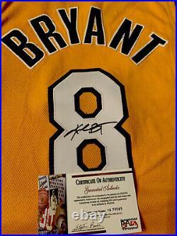 KOBE BRYANT Signed Autographed RARE AUTHENTIC Gold Nike Pro Cut #8 Jersey PSADNA