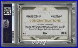 Ken Griffey Jr. & Mike Trout 2021 Topps Definitive On-card Dual Auto /10 Psa 10