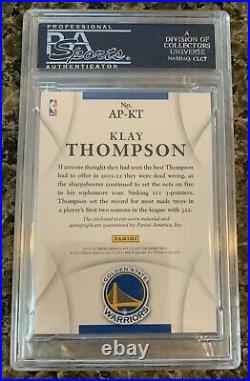 Klay Thompson 2012 Immaculate Rpa Patch Auto Rc #007/100 Psa 10 Gem Mint Rookie