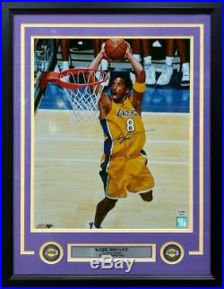 Kobe Bryant Lakers Autographed Signed Framed Slam Dunk 16x20 Photo PSA/DNA COA