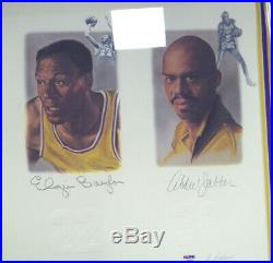 Lakers Legends Autographed Framed Lithograph 5 Sigs Chamberlain Psa/dna 113533