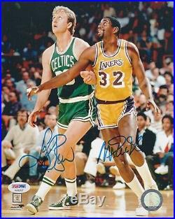Larry Bird Celtics Magic Johnson Lakers Signed AUTOGRAPH 8 x 10 Photo PSA DNA