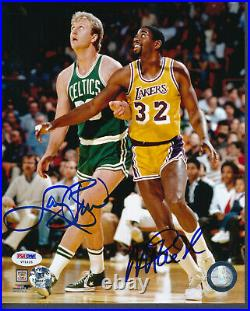 Larry Bird Magic Johnson Signed 8x10 Photo Autograph Auto PSA/DNA V71425