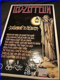 Led Zeppelin Autographed Poster Plant + Page + Jones PSA/DNA AUTHENTICATED