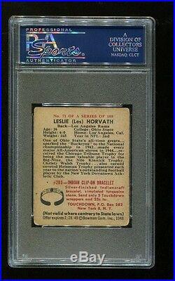 Les Horvath Signed 1948 Bowman #71 RC Ohio State Heisman Autograph PSA/DNA 2911